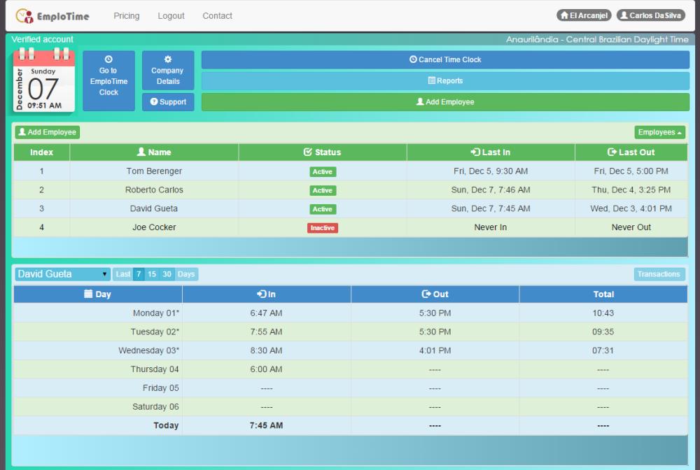 portal de administrador de emplotime
