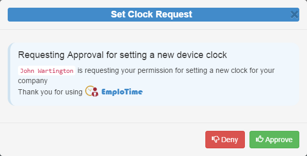 set clock request