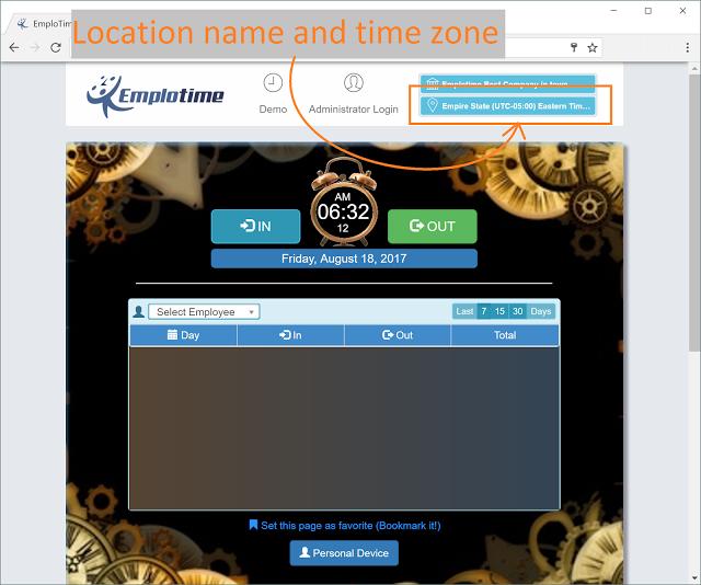 Verificar nombre de sucursal y zona horaria del reloj